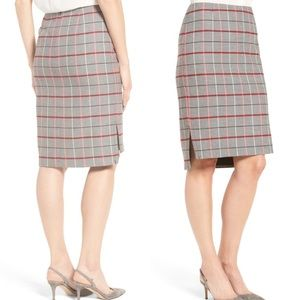 HALOGEN Plaid High Waisted Pencil Skirt